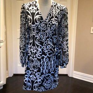 Alfani faux wrap dress with chiffon sleeves XS
